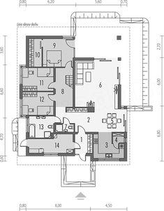 Rzut parteru projektu Liv 3 Indian House Plans, Best House Plans, House Layout Plans, House Layouts, Good House, My House, Casa Octagonal, Architectural House Plans, Bungalow House Design