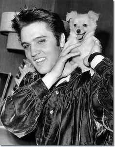 Elvis Presley and 'Sweet Pea' the dog, October 18, 1956. - elvis-presley Photo