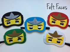 SET OF 5 Lego Ninjago Party Masks, Ninjago Birthday, Ninjago Party Decorations, Ninjago Party Favors, Ninjago Party, Lego Party,Ninjago Mask