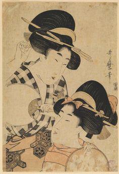 Dos jóvenes mujeres con abanico, Kitagawa Utamaro (Utamaro hitsu), Grabado en madera a la fibra, nishiki-e, 325 x 220 mm, c. 1790 - 1800, Madrid, Museo Nacional del Prado