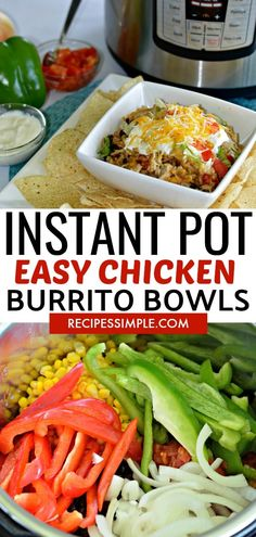 Easy and delicious Instant Pot Chicken Burrito Bowls is the perfect dinner recipe for busy weeknights.  #instantpotrecipes #chickenburritobowls  #chickenrecipes