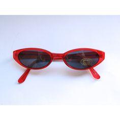 Vintage de los años 90 Lucite rojo gafas de sol Sunnies transparente... ❤ liked on Polyvore featuring accessories, eyewear, sunglasses, vintage sunglasses, vintage eyewear, transparente, vintage glasses and oval sunglasses