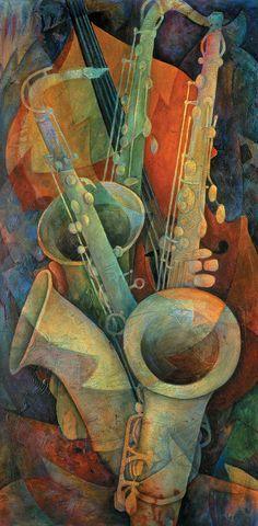 """""""Saxofones e Baixo"""" - Pintura de Susanne Clark"""