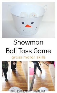 snowman ball toss game for gross motor skills Christmas Activities For Toddlers, Snow Activities, Motor Skills Activities, Gross Motor Skills, Infant Activities, Preschool Activities, Christmas Games, Preschool Class, Preschool Curriculum
