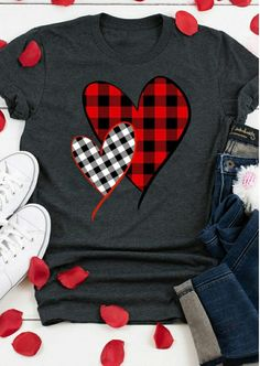 Valentine Plaid Splicing Heart O-Neck T-Shirt Tee - Dark Grey Valentine Plaid Splicing Heart O-Neck T-Shirt Tee - Dark Grey Bellelily Fashion bellelilyfashion Valentine's Day Outfits Adorable Valentine's Day Outfits for Women Valentine Shirts, Valentines Diy, Home T Shirts, Vinyl Shirts, Tee Shirts, Baseball Shirts, Moda Professor, Valentinstag Shirts, Plaid And Leopard