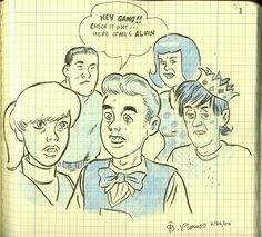 Daniel Clowes' drawing of the Archie Gang