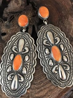 NAVAJO ~ORANGE SPINY OYSTER ~ STAMPED ~TOSIE WHITE-LONG DANGLING EARRINGS  | eBay