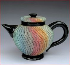 Missy and Sandy Kaolin rainbow teapot