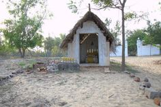 The small shrine or temple on beach to offer prayers for those who were taken by sea in Pondicherry