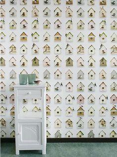 papel pintado casita pájaros, telas & papel