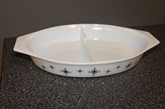60s Black Snowflake Compass design kitchen baking dish Vintage Pyrex Divided Oblong Casserole Serving Dish or Snack bowl cookware