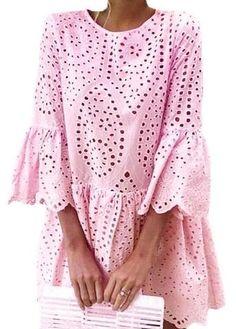 White Crochet Lace Dress Women Summer 34 Sleeve Casual Tunic Dress Beach Loose Short Dress Vestidos Pink S Elegant Dresses For Women, Summer Dresses For Women, Casual Dresses, Short Dresses, Dresses Dresses, Dress Summer, Dress Beach, Party Dresses, Blue Dresses