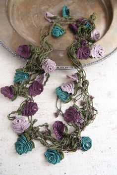 Beadwork necklace Crochet beaded necklace by elegantaccessoryshop Crochet Motifs, Form Crochet, Crochet Art, Irish Crochet, Crochet Crafts, Crochet Flowers, Crochet Projects, Crochet Patterns, Crochet Designs