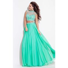 Rachel Allan 7255 Prom Long Dress Long High Neckline Short Sleeve ($498) ❤ liked on Polyvore featuring dresses, gowns, formal dresses, light emerald, long evening dresses, emerald green gown, long formal dresses and prom dresses