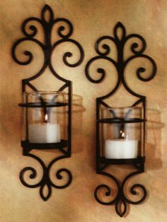 Tuscan Wrought Iron Hurricane Wall Candle Sconce S2