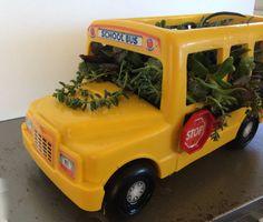 Teacher/School Bus Driver Gift Bus Succulent Planter Centerpiece by TizaVintage School Bus Crafts, School Buses, School Bus Driver, Toy Model Cars, Bus Driver Gifts, Vintage Gifts, Cheryl, Teacher Gifts, Centerpiece