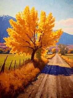 Douglas Aagard | Fall On Farm Road (2014), oil
