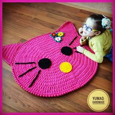 Ideas Crochet Cat Hat Pattern Knits For 2019 Crochet Socks Pattern, Crochet Mat, Crochet Rug Patterns, Crochet Carpet, Crochet Beanie, Knitting Patterns, Cat Rug, Hello Kitty Crochet, Knitted Animals