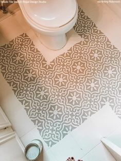How to Paint Your Bathroom Floors with Tile Stencils - DIY Tutorial – Royal Design Studio Stencils Painting Bathroom Tiles, Painting Tile Floors, Bathroom Floor Tiles, Painted Floors, Cheap Wood Flooring, Linoleum Flooring, Large Stencils, Tile Stencils, Diy Kitchen Decor