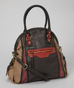 Take a look at this Brown & Red Pebbled Tote by David Jones on #zulily today!