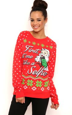 Long Sleeve French Terry Dot Print Top with Santa Claus Selfie Screen