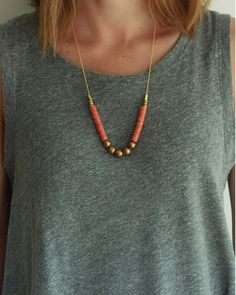 brass + coral necklace