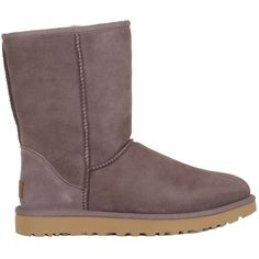 Ugg Australia Women Classic Short Shearling Boots ($290) ❤ liked on Polyvore featuring shoes, boots, taupe, sheep fur boots, ugg® australia shoes, shearling-lined boots, fleece-lined shoes and shearling lined shoes