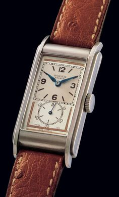 "1768 ""Prince Railway"" Rolex ""Prince Railway"", Ref. Case No. Made in Fine and rare, rectangular curved, stainless steel gentleman's Art Deco wristwatch. Timex Watches, Old Watches, Watches For Men, Amazing Watches, Beautiful Watches, Vintage Rolex, Vintage Watches, Black Rolex, Art Nouveau"