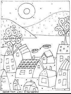 Rug Hook Paper Pattern Seaside Town Folk Art Karla G   eBay
