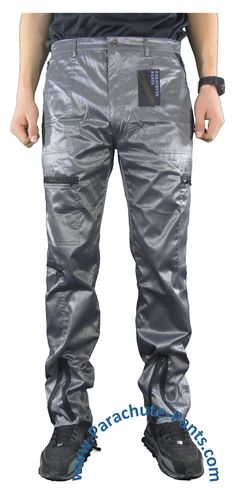 Countdown Grey Shiny Nylon Parachute Pants with Black Zippers
