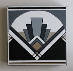 Handmade gold and black Art Deco pattern acrylic painting on 10x10 gallery wrap canvas with a black, white, and gray color scheme and matching