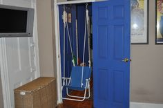 By far my favorite crafty project to date...upcycled beach chair + rope + clips and ceiling screws + tie wraps to make sure the chair doesn't fold up (once a telephone man's daughter always a telephone man's daughter) = indoor swing!  My son and I spent all afternoon swinging away on it!