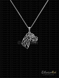 Great Dane profile natural ears  sterling silver pendant