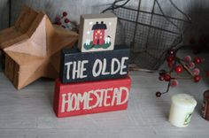 The Olde Homestead Hand Painted Shelf Sitter by UniquePrimtiques, $10.00
