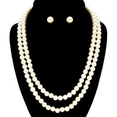 "19"" Long double strand pearl bead necklace. Matching earrings are available separately.  #Necklace #Earrings #Pearl #Pearls #LaDeDa #DiscoverEaston #ShopEaston"