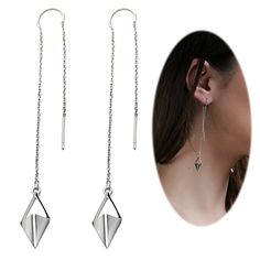 7489cce6e Earrings, Drop & Dangle, Threader Earring Chandelier Triangle Crystal -  Rhombus with Silver