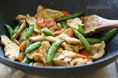 Spring Stir Fried Chicken with Sugar Snap Peas and Carrots | Skinnytaste