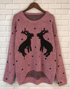 Reindeer graphic knit sweater keep you warm in chill winter Christmas. choose your favorite color at OASAP.