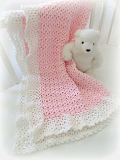Crochet Baby Blanket Pattern ♥️ Cherish Baby Blanket  ♥️ Beautiful easy pattern with lace border  ♥️ Adorable, fast and easy to make. Appropriate for a beginner or an advanced beginner.  ♥️ Change the colors for a baby boy or girl. ♥️ Blanket is made with light worsted weight yarn, and uses basic crochet stitches (sc, dc) in American Standard Terms. ♥️ Pattern by Deborah O'Leary Patterns