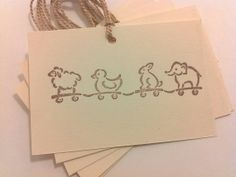 Buttons on carts? Baby Animals On Parade gift tags and favor tags by MollyDeesigns, $3.00