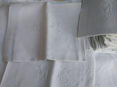 "Antique French Damask Napkins Set of 6 White Linen ""MC"" Monogram #SophieLadyDeParis  20%OFF PROMOTION + FREE SHIPPING www.sophieladydeparis.etsy.com"