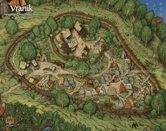 Map of Vranik in Kingdom Come Deliverance KCD Video Game. Fantasy City Map, Fantasy World Map, Fantasy Town, Kingdom Come Deliverance, Village Map, Adventure Map, Dungeon Maps, Dungeons And Dragons Homebrew, Fantasy Setting