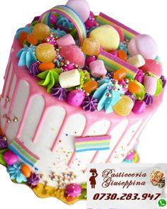 Tort de la Cofetaria Pasticceria Giuseppina ! Comanda direct pe WhatsApp : 0730283947 #tort #liviu #rebreanu #prajituri #liviurebreanu Sweetie Birthday Cake, Sweetie Cake, Candy Birthday Cakes, Candy Cakes, Cupcake Cakes, Cupcakes, Colorful Birthday Cake, Birthday Gifts, Bolo Drip Cake