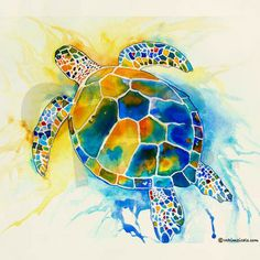 More Sea Turtles Laptop Skins by Artist Jo Lynch Whimsical Art 4 Fun - CafePress Sea Turtle Art, Sea Turtles, Sea Turtle Painting, Baby Turtles, Watercolor Animals, Watercolor Art, Watercolor Tattoos, Aquarell Tattoo, Silk Painting