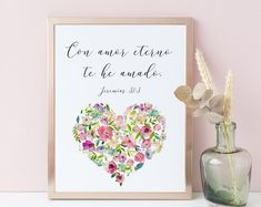 Spanish Print, Bible Verse Print, I have loved you with an everlasting love, Jeremiah 31 3 Christian Birthday Quotes, Christian Memes, Christian Marriage, Bible Verse Wall Art, Scripture Quotes, Bible Verses, Biblical Verses, Printable Designs, Printable Wall Art