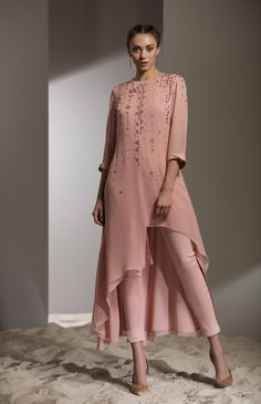 Fabric Material: Viscose Georgette Bottom: Cotton Lycra Material Composition: 100 Viscose Care: Dry Clean Only Pakistani Dress Design, Pakistani Dresses, Indian Dresses, Indian Outfits, Stylish Dresses, Fashion Dresses, Mother Of Groom Dresses, Embroidered Tunic, Indian Attire