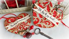 Use cardboard and book pages to make lovely Vintage Valentine Ornaments!