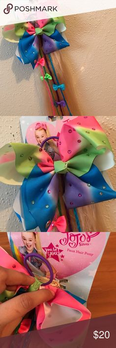 Jojo Siwa Faux Hair Ponytail Bow Dazzling Diva Jojo Siwa Hairbow Faux Blonde Hair Nickelodeon Accessories Hair Accessories