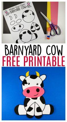 Cute and Fun Farm Craft Cow Art Project Use the FREE printable cow template to make this super cute and easy farm theme cow craft! This barnyard cow great for preschool toddlers and big kids!