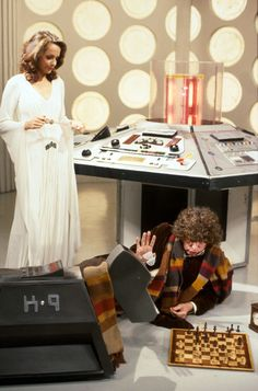 The Fourth Doctor (Tom Baker) with Romana (Mary Tamm) and K9.